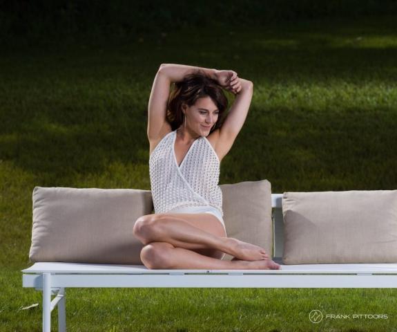 Model on garden Bench